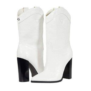 Guess Boots Marney White Cowboy Booties